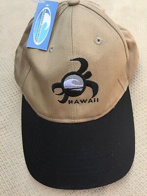 178ffb1f6e888 Hawaii Embroidered Logo Cap Hat HAWAIIAN HEADWEAR Adj. SnapStrap Tan Black  NWT