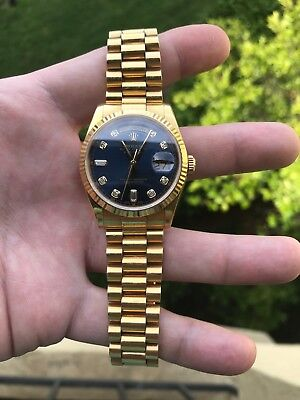 18K Mens Yellow Gold Rolex Presidential Day-Date 36MM Blue dial with Diamonds