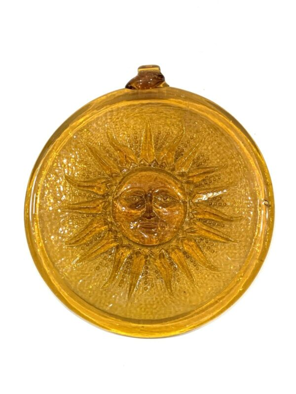 WHITEFRIARS STYLE SUNSPOT AMBER TINTED CIRCULAR PLAQUE 17.5cm FIRE INSURANCE?