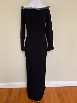 NWT Rachel Gilbert Winona Black Beaded Off Shoulder Gown Dress US 8 UK 12 $1799