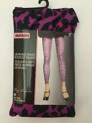 LEG AVENUE LEOPARD PRINT FOOTLESS TIGHTS PURPLE MULTI ADULT ONE SIZE NEW Footless Adult Tights