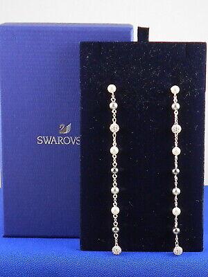 Swarovski Silvertone CANOPY Pearl Long Linear Drop Earrings 5430883 $129 Long Linear Earrings