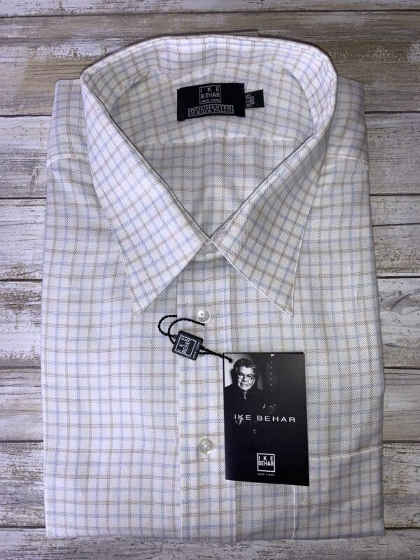 NEW Ike Behar 18.5 35 Big Cotton Shirt White/Beige/Blue Plaid Checkered Shirt