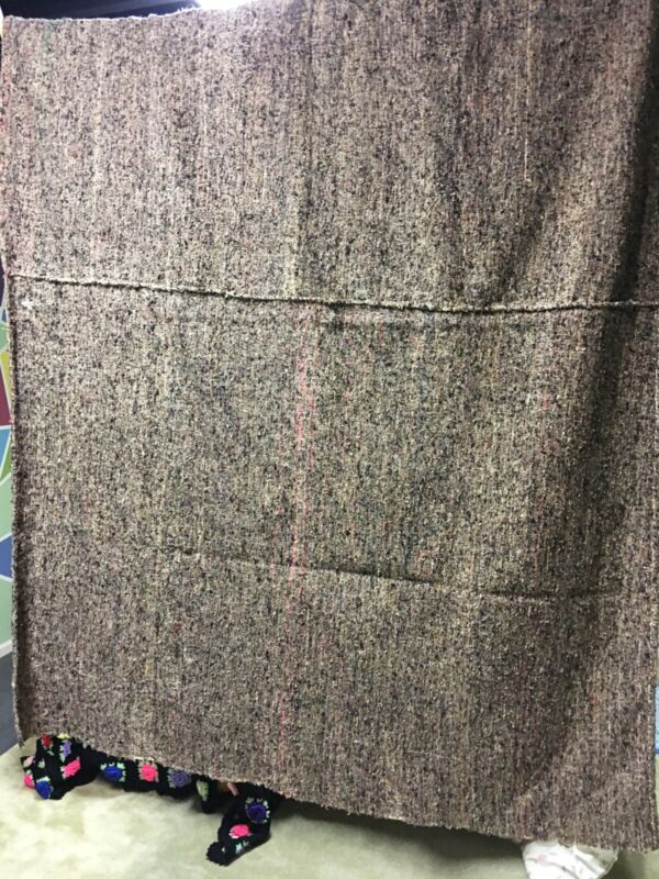 Antique 1800s Linsey Woolsey Loomed Textile Wool Blanketabout 60x84 primitive