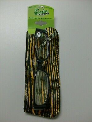 Go Green reading glasses Power +3.0 with case, made from recycled (Recycle Reading Glasses)