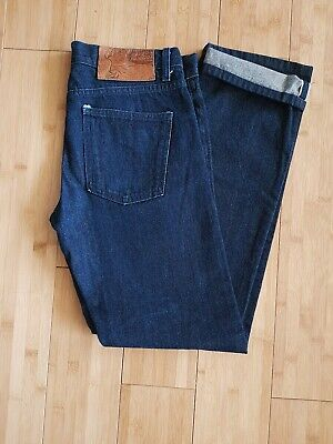 Men's Naked & Famous red line selvage jeans size 33 x 32 Skinny Guy