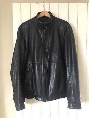 Hugo Boss Leather Jacket Uk 56 Washed Lamb Nappa