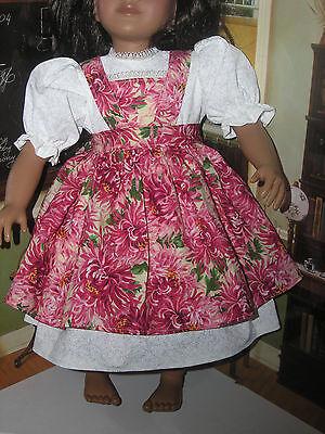 "Cream Dress Floral Print Apron 2 piece Dress  23"" Doll clothes fits My Twinn"