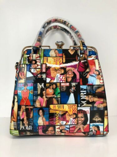 Michelle Obama Magazine Style Handbag Purse #3604 Muti