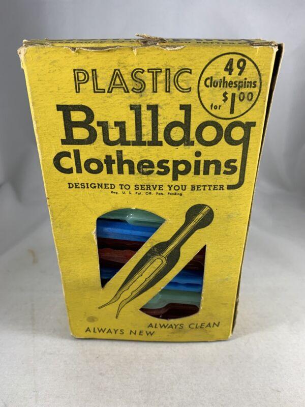 "Vintage Bulldog Plastic Clothes Pins Kordite 3"" Retro Laundry Clips In Box"