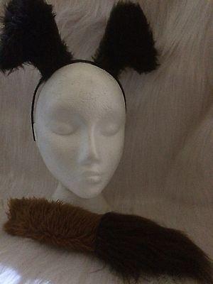 Fake Dog Tail (Cartoon Look Dog Ears & Tail Dress Up Fancy Dress Fake Fur One Size Unisex)