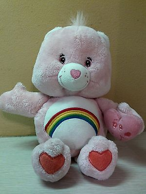 "2002 Care Bears Talking Cheer Bear Smiling Pink Heart 10"" stuffed animal toy"