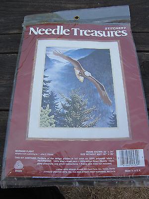 Vintage Needle Treasure Crewel Embroidery Kit Bald Eagle Morning Flight Painted