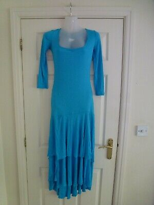 VERSUS VERSACE Ladies 100% Viscose Midi Dress In Turquoise Size 26/40 (XS)