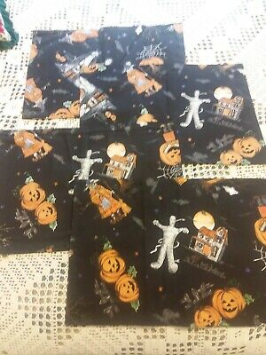 Halloween Placemats Set of 4 Ghost Witch Vampire Pumpkin Fabric Table Mats - Halloween Place Mats