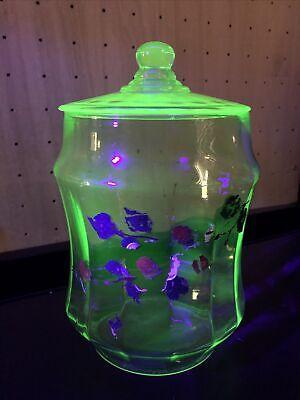 Vintage Vaseline Glass Cookie Jar With Top