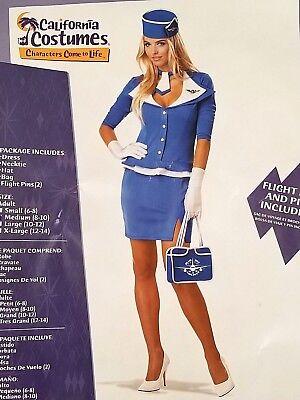 RETRO STEWARDESS Sexy Halloween Dress Up Costume Womens Sz Medium 8-10 - Retro Stewardess Halloween Costume