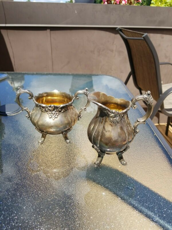 Baroque by Wallace Silver Plate Sugar Bowl  And Creamer Set Vintage