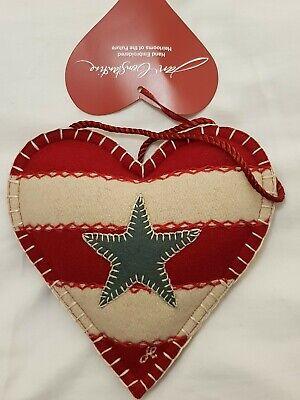 BNWT RARE Jan Constantine Star & Stripe Embroidered Wool Hanging Lavender Heart