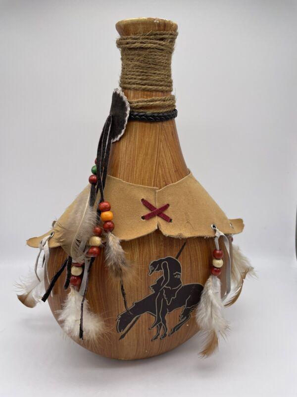 "Southwestern Decorative Wood 10.5"" Canteen w/Man Riding Horse EUC Free Shipping"