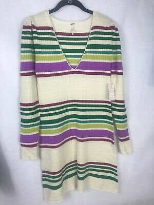 Free People Small Sweater Dress Stripe Gidget Knit V Neck Long Sleeve New $148