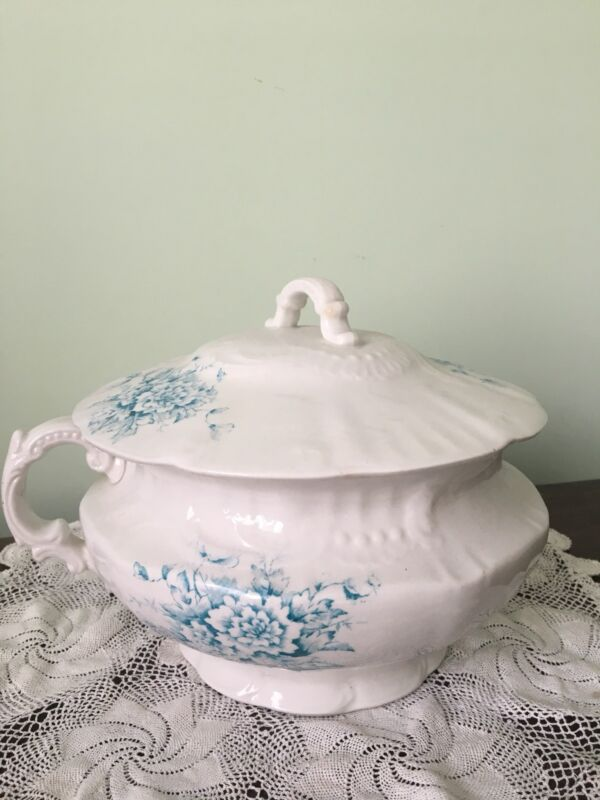 Antique Blue Transfer ware Champion Chamber Pot With Lid