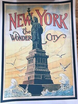 Vtg Style New York NYC Statue Of Liberty Poster Canvas Ad 11x17 Travel Wall Art
