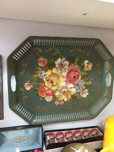 Antique tin serving tray