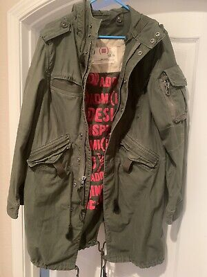 Unisex GAP PRODUCT RED MILITARY ARMY GREEN COAT (XS) LONG -