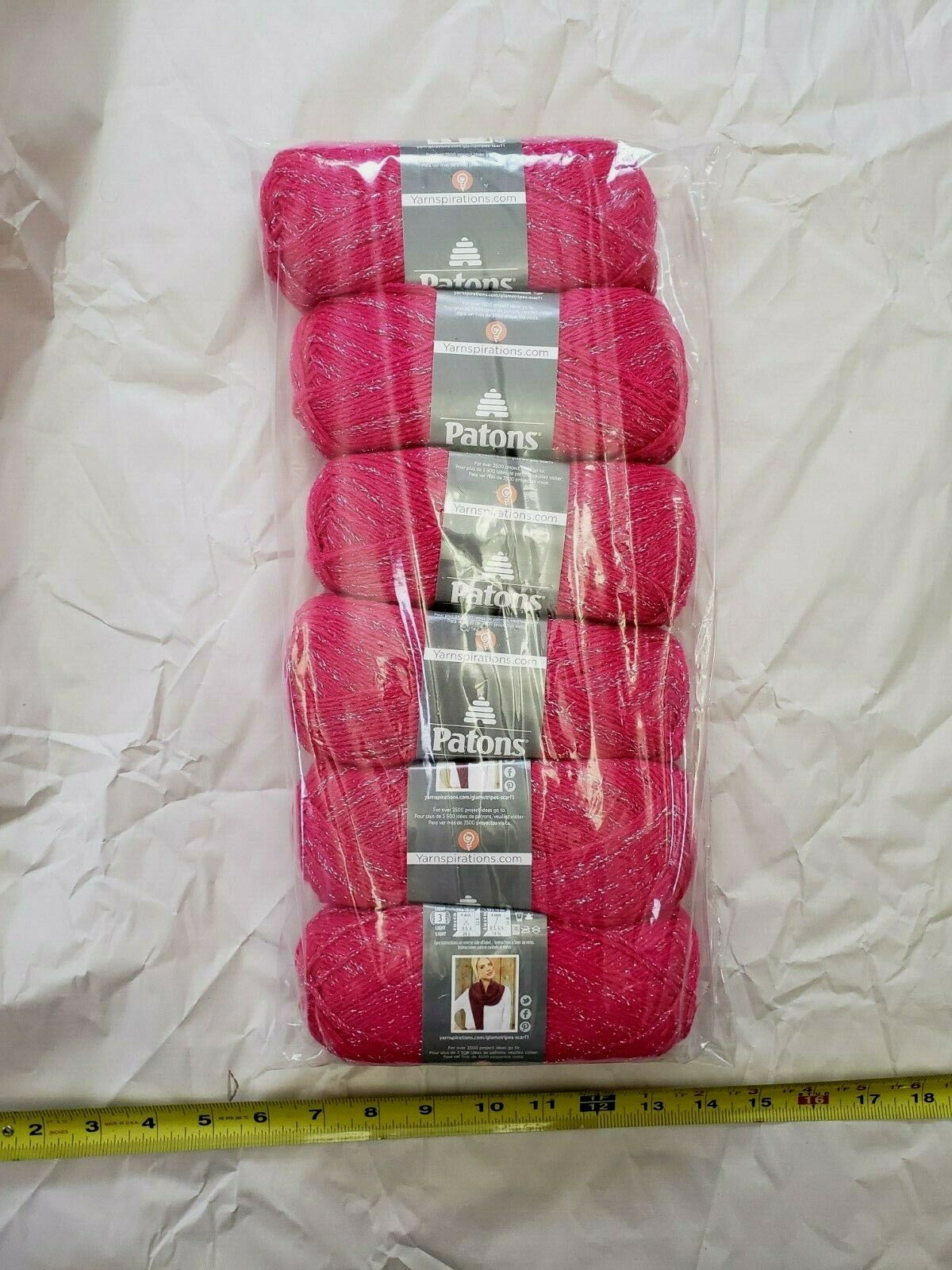 6 Skeins Of Patons Glam Stripes Yarn In Fuschia With Metalli