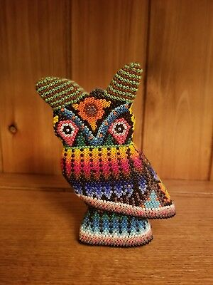 OWL MEXICAN FOLK ART CARVED WOOD HANDMADE BEADED BY MEXICAN HUICHOL ARTESANS