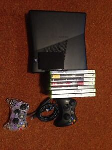 XBOX 360, 2 CONTROLLERS, 7 GAMES, 250 GB HARDDRIVE