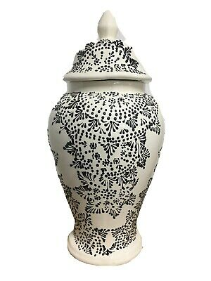 Mexican Folk Art Talavera Pottery Tibor Ginger Jar Lid Vase MANDALA Large 20