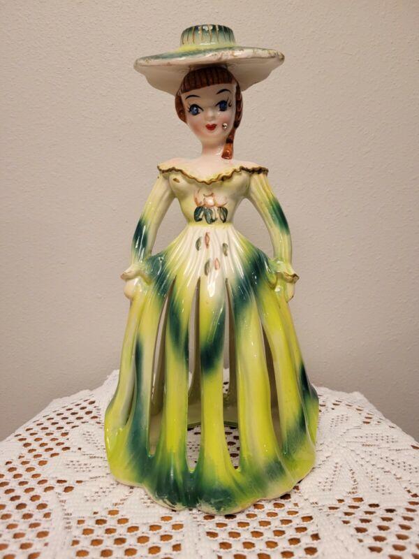 Vintage Kreiss & Company Green Lady Napkin & Candle Holder, Jeweled Eyes & cheek