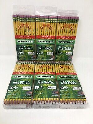 Lot Of 6 X 30 Count Ticonderoga Hb 2 Sharpened Pencil 13830 Soft 180 Pencils
