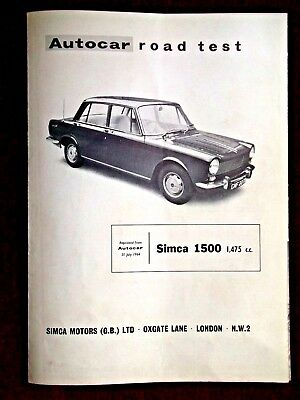 SIMCA 1500 -1,475cc- 1964 - Original AUTOCAR Road Test Leaflet