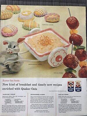 Quaker Oats~Easter Egg Cookies, Orange Oatmeal Recipes~1958 Vintage Print AD A56