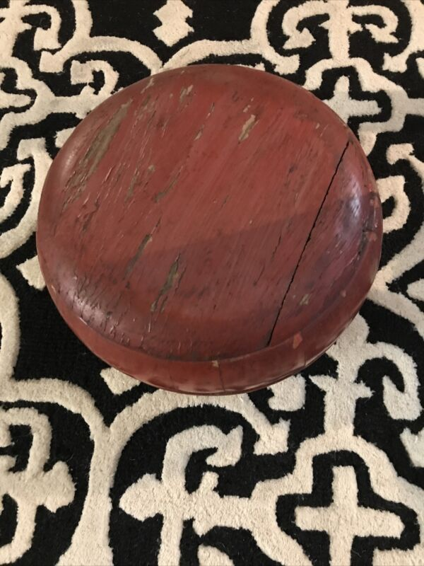 Beautiful Old Chinese Red Wooden Container/Basket Hand Made By Skilled Artisan