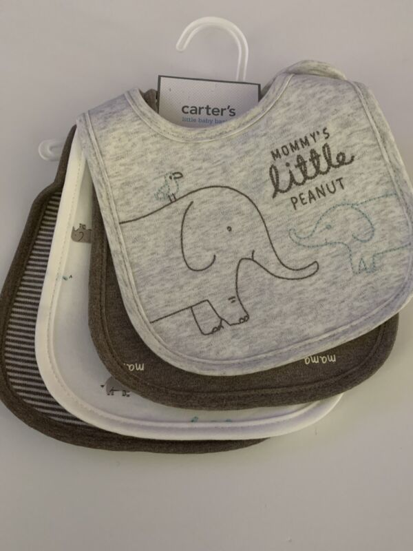Carters Baby Boy 4-pack Teething Bibs Elephant Brown Layette Water Resistant