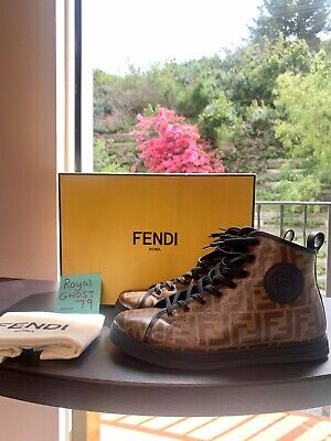 FENDI LOGO PATENT HIGH TOP SNEAKERS. WOMENS. MENS. SOLD OUT. AUTHENTIC!