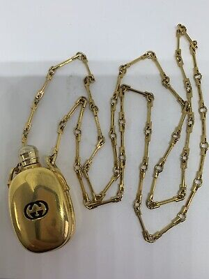 Gucci Authentic Vintage Gold Tone Perfume Bottle Pendant On Chain