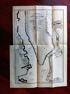 1910 NY Water Front Sketch Map Railroads Manhattan Brooklyn New Jersey Shores