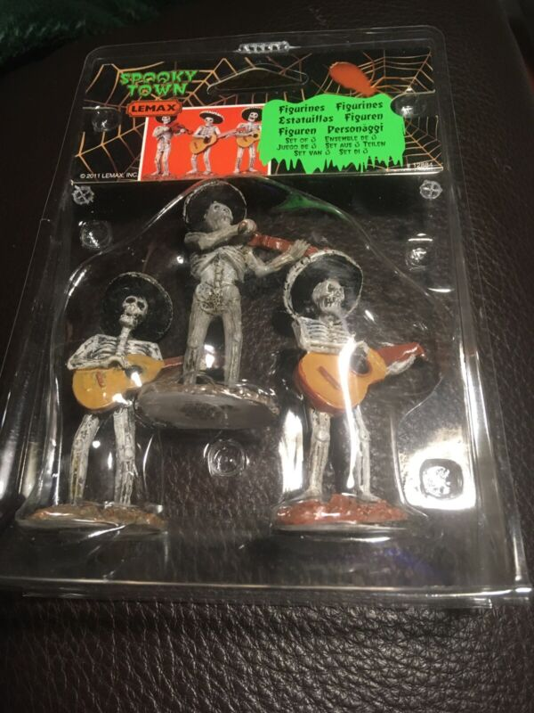Lemax SKELETON MARIACHI BAND Spooky Town Village Set of 3 Halloween