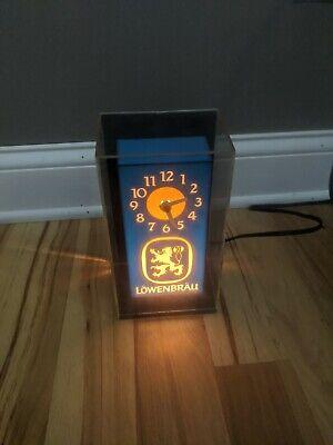 Vintage Lowenbrau Beer Lighted Clock Bar Display Sign Working
