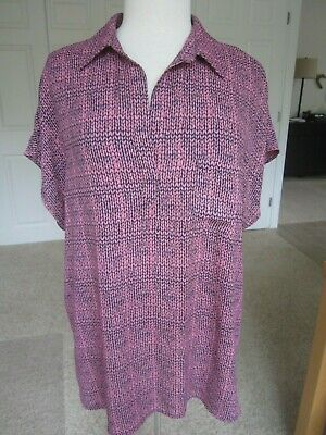 NWT Pleione XXL pink & navy print cap sleeve lightweight collared tunic blouse