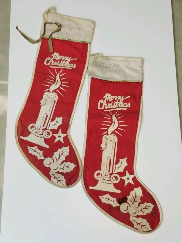 "2 Vintage Red Felt Stencil Merry Christmas Stockings Bobby Maureen Names 18.5"""