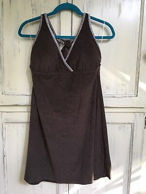 (2 Bamboo Swim Wear Cover Up Halter Tank Top Terry Cloth Brown Beach Size XL NWOT)