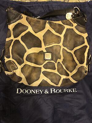 Dooney and Bourke Giraffe Print Leather Hobo Bag Purse Handbag with Dust cover Leather Print Hobo Bag