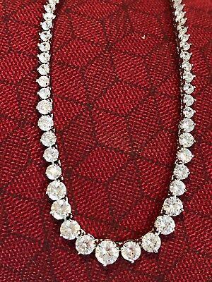 "20ct Brilliant Graduated Diamond 14K White Gold Finish Tennis Necklace 18"" A11"