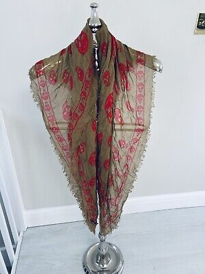 Khaki And Red Alexander Mcqueen Scarf